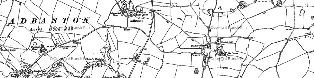 Old map of Adbaston in 1886