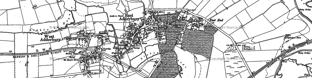 Old map of Adderbury in 1898