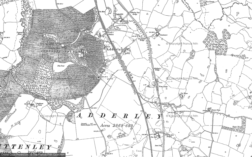 Old Map of Adderley, 1884 - 1885 in 1884