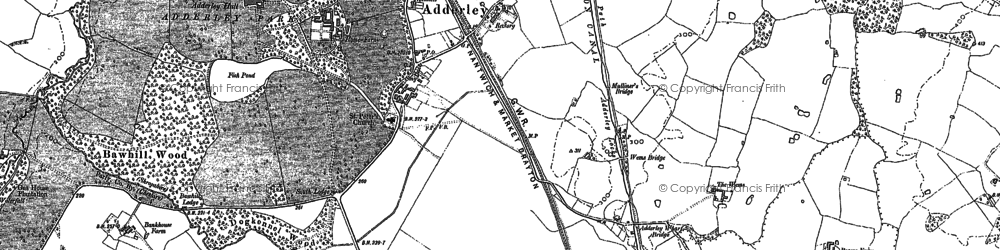 Old map of Adderley in 1884