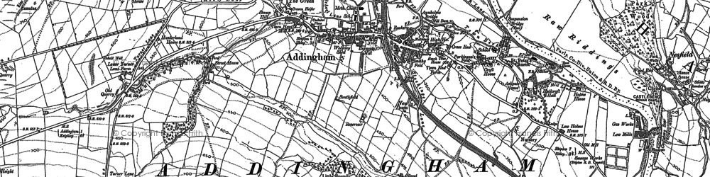 Old map of Addingham Moorside in 1907