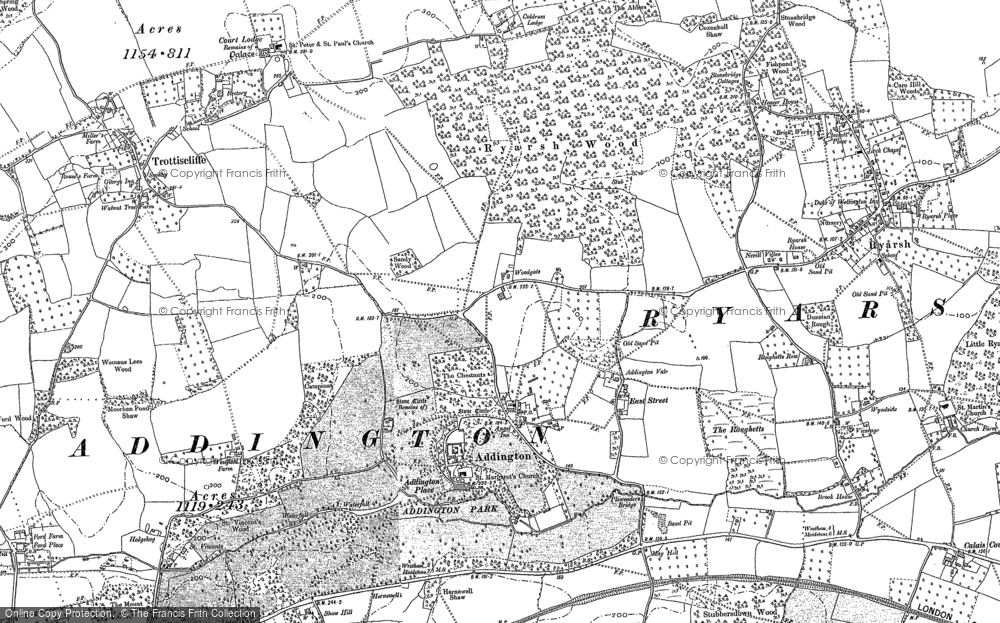 Old Map of Addington, 1895 in 1895