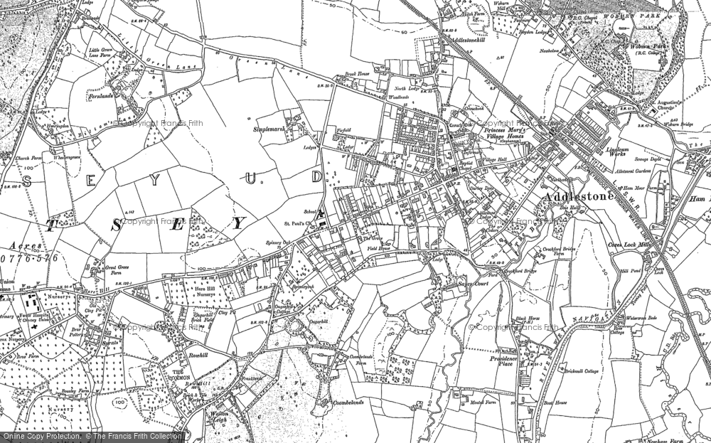 Map of Addlestone, 1894 - 1895