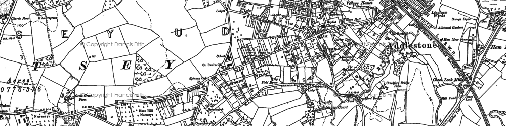 Old map of Row Town in 1894