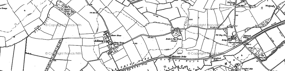 Old map of Adeney in 1880