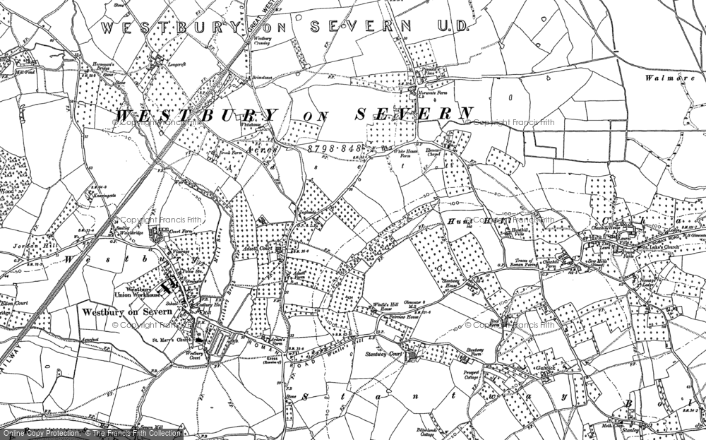 Old Map of Historic Map covering Adsett Court in 1879
