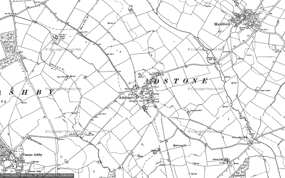 Old Map of Historic Map covering Adstone Ho in 1892