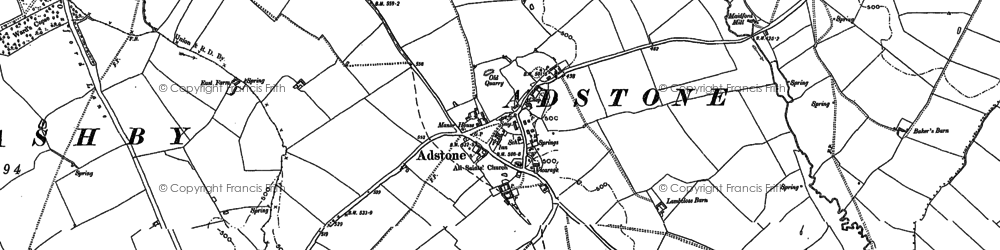 Old map of Adstone Lodge in 1892