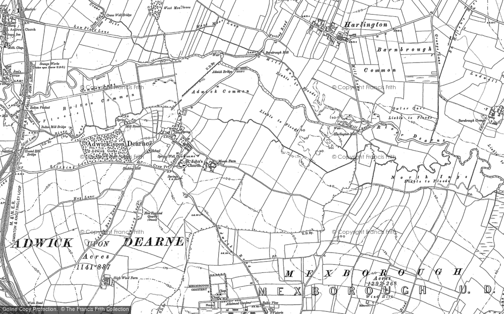 Old Map of Adwick upon Dearne, 1890 in 1890