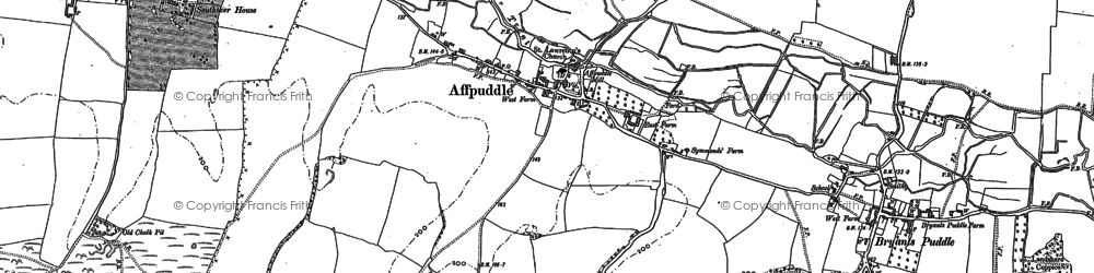 Old map of Affpuddle in 1885
