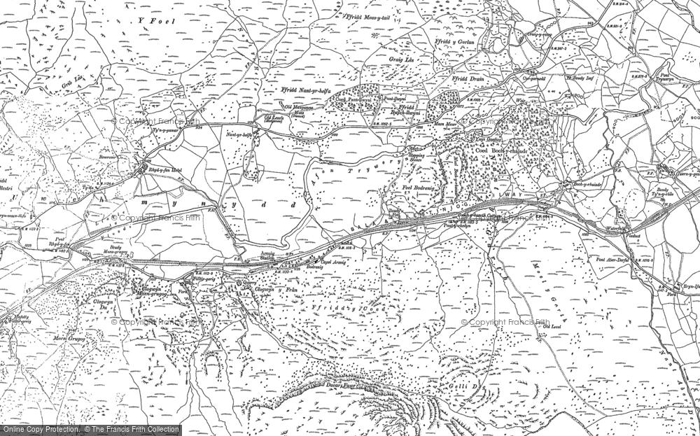 Old Map of Afon Tryweryn, 1887 in 1887