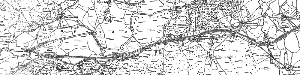 Old map of Arenig Fawr in 1887