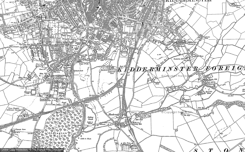 Old Map of Aggborough, 1883 - 1901 in 1883