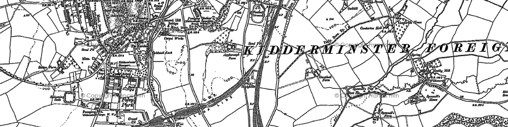 Old map of Aggborough in 1883
