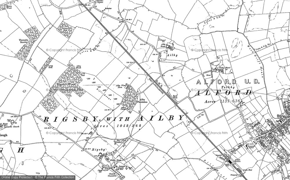 Old Map of Ailby, 1887 in 1887