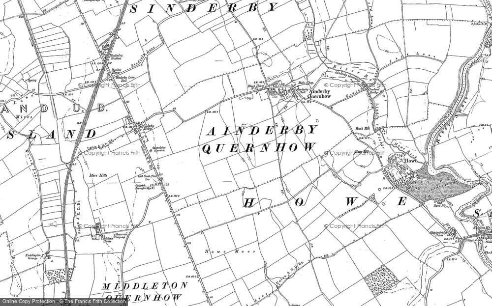 Old Map of Ainderby Quernhow, 1890 - 1891 in 1890