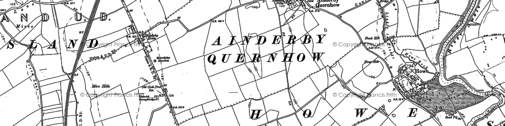 Old map of Ainderby Quernhow in 1890