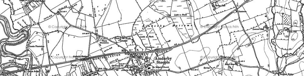 Old map of Ainderby Steeple in 1891