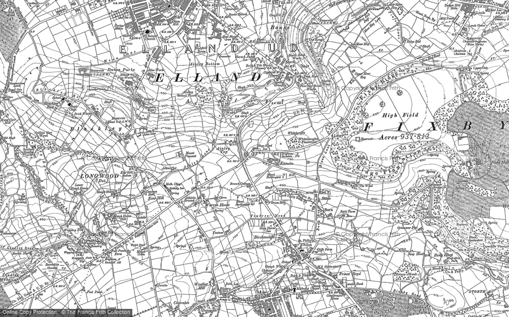 Old Map of Ainley Top, 1889 - 1892 in 1889