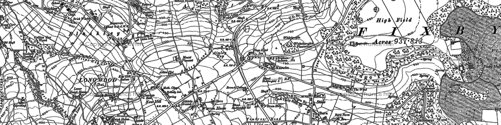 Old map of Ainley Top in 1889