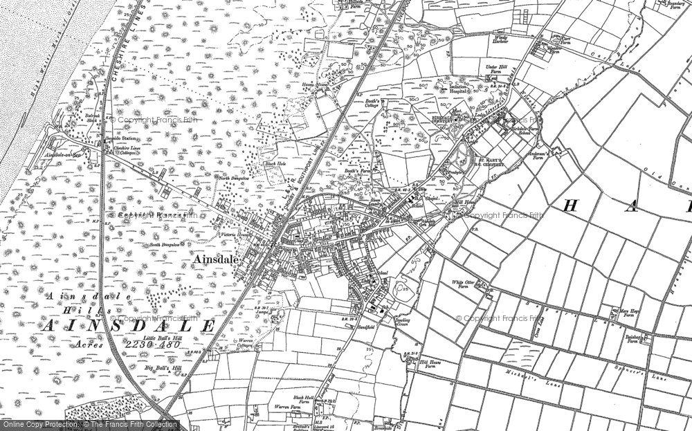 Old Map of Historic Map covering Ainsdale Hills in 1892