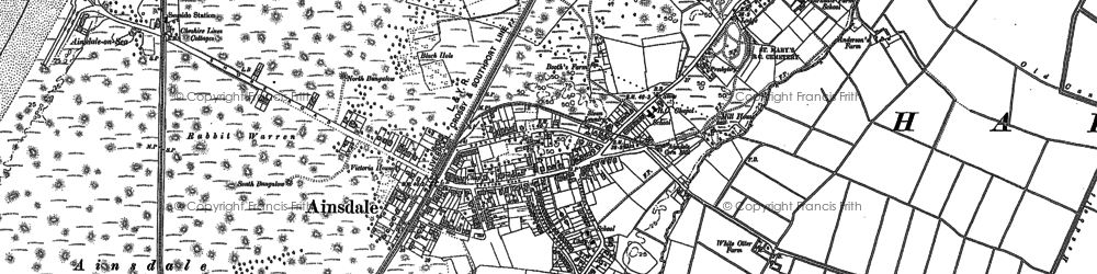 Old map of Ainsdale-on-Sea in 1892