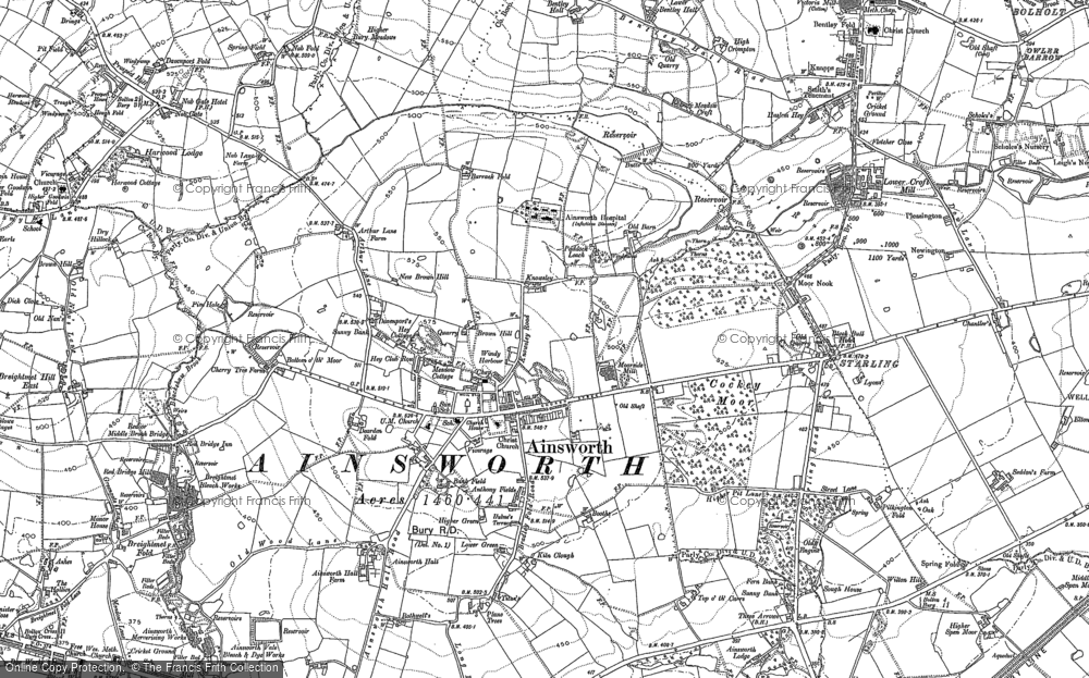 Old Map of Ainsworth, 1890 - 1891 in 1890