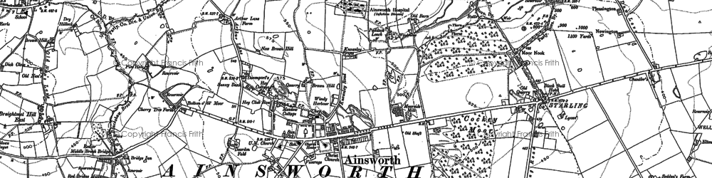 Old map of Ainsworth in 1890