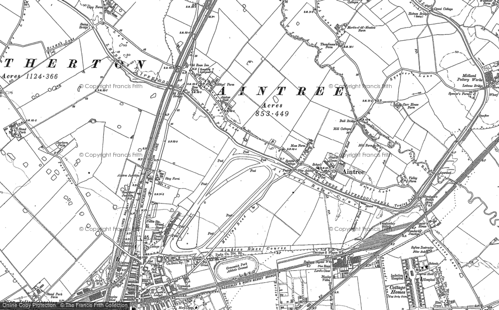 Old Map of Aintree, 1906 - 1907 in 1906
