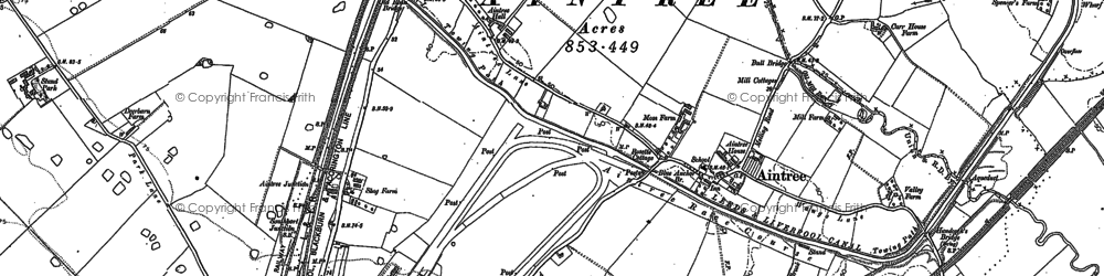 Old map of Aintree in 1906