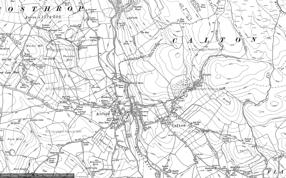 Old Map of Historic Map covering Airton Green in 1907