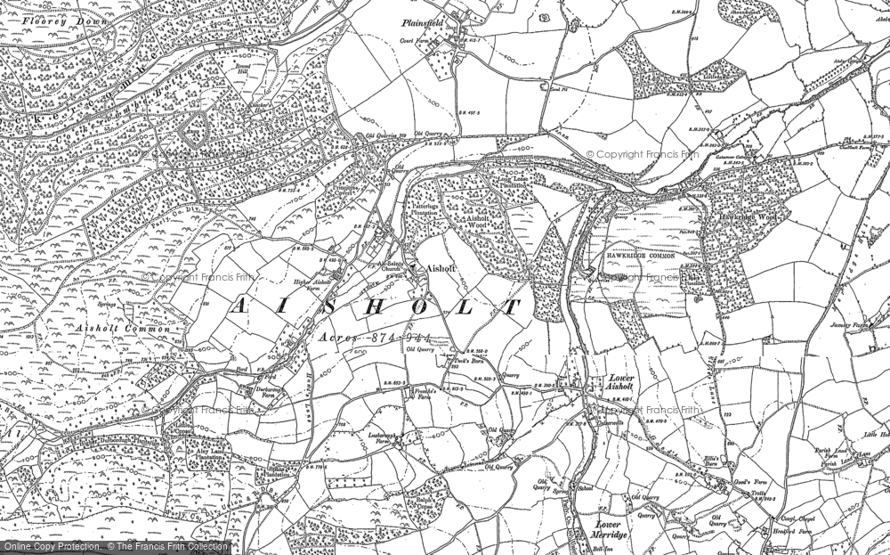 Old Map of Historic Map covering Aisholt Common in 1886