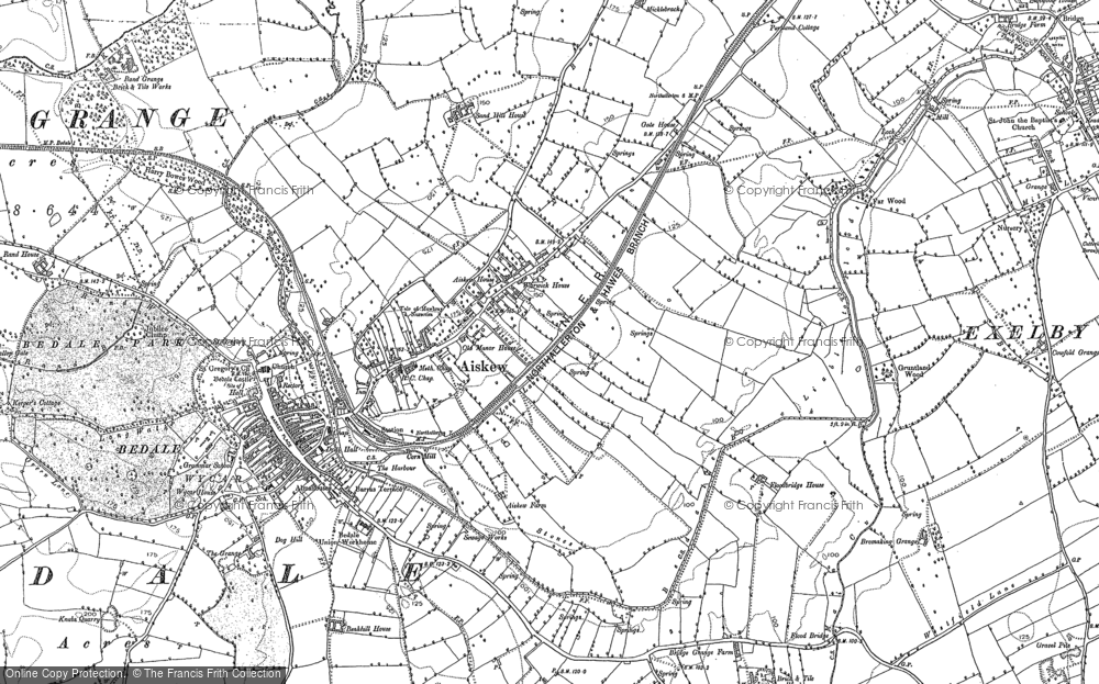 Old Map of Historic Map covering Aiskew Grange in 1890