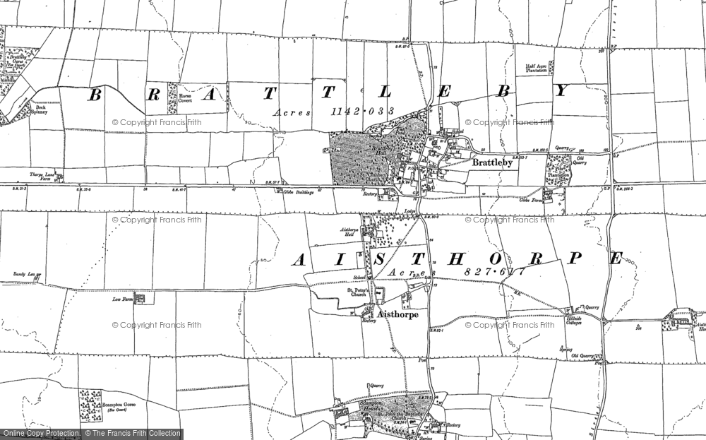 Old Map of Historic Map covering Aisthorpe Hall in 1885
