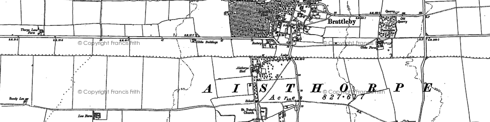 Old map of Aisthorpe in 1885