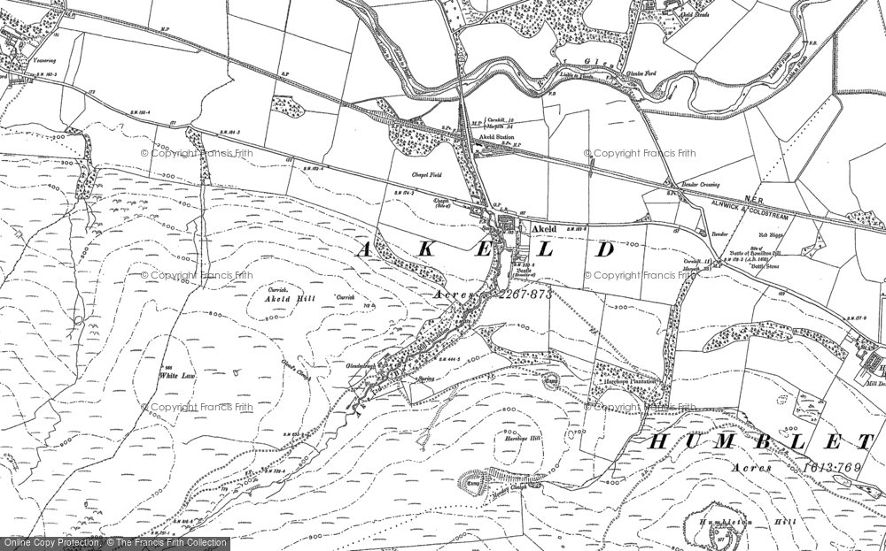 Old Map of Historic Map covering Akeld Hill in 1896