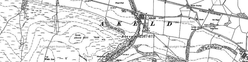 Old map of Akeld Hill in 1896
