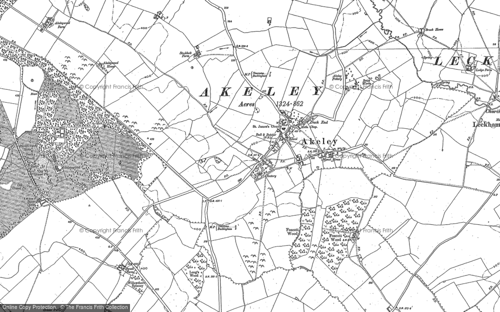 Old Map of Historic Map covering Akeley Wood School in 1899