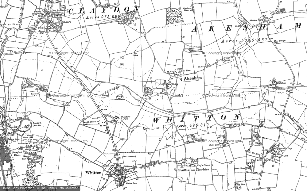 Old Map of Historic Map covering Akenham Hall in 1881