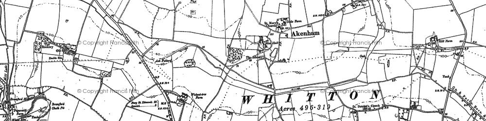 Old map of Akenham Hall in 1881