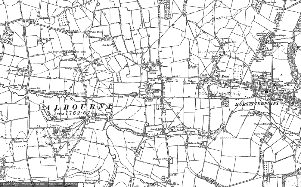 Old Map of Historic Map covering Albourne Green in 1896