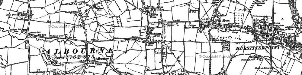 Old map of Albourne Green in 1896