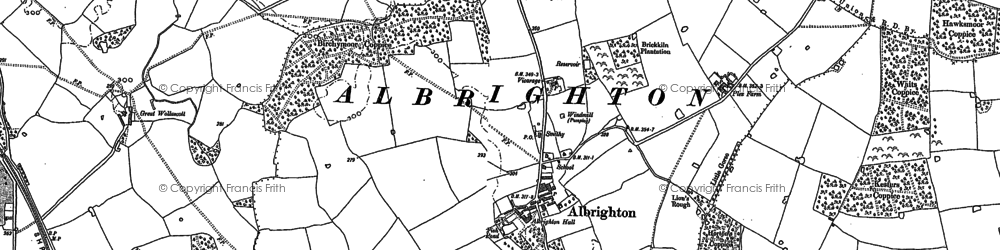 Old map of Albrighton in 1880