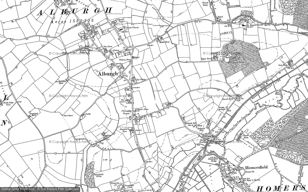 Old Map of Alburgh, 1883 - 1903 in 1883