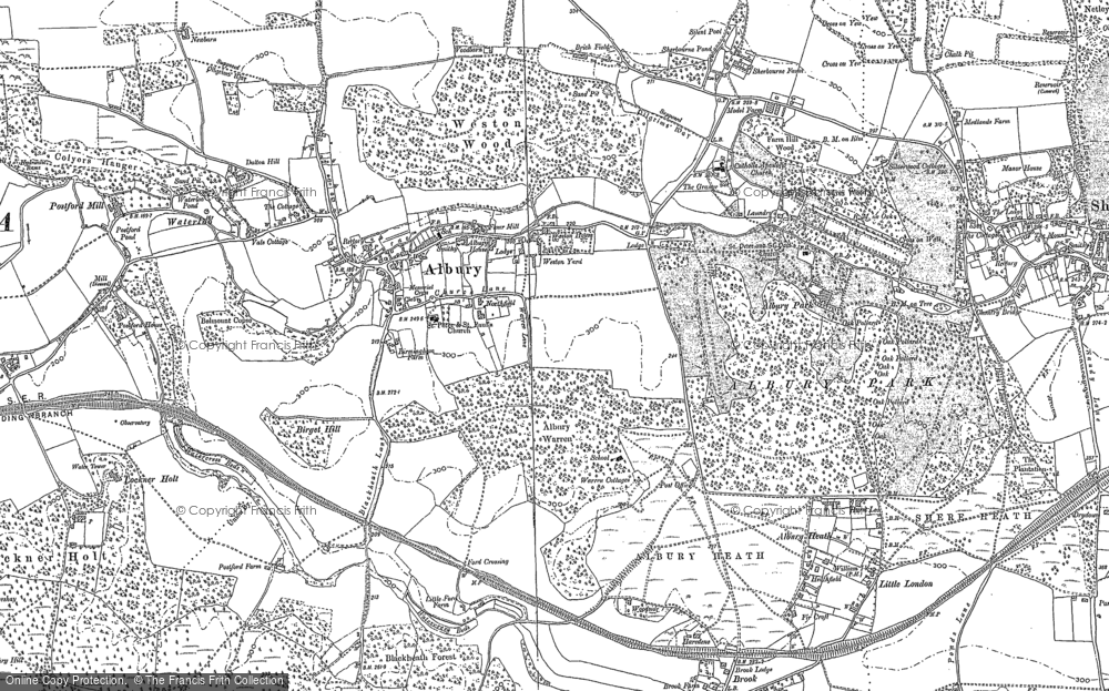 Old Map of Historic Map covering Albury Park in 1895