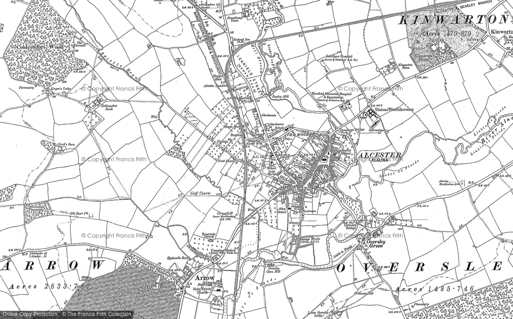 Old Map of Alcester, 1885 in 1885