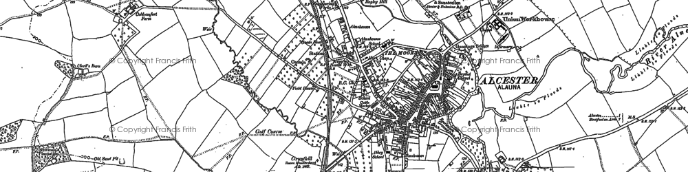 Old map of Alcester in 1885