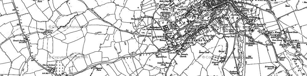 Old map of Alcester in 1900