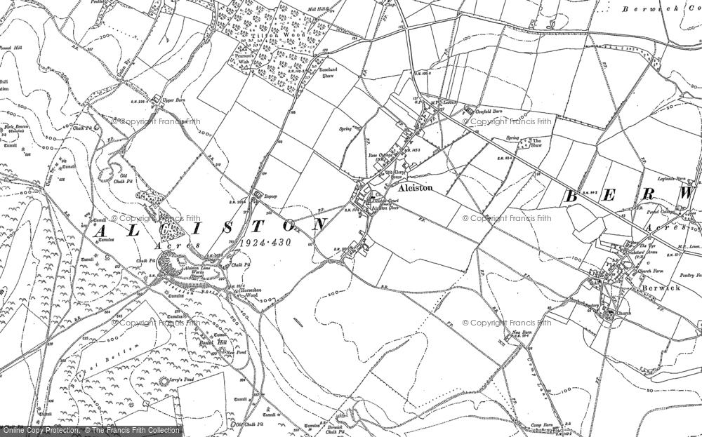 Old Map of Alciston, 1898 in 1898