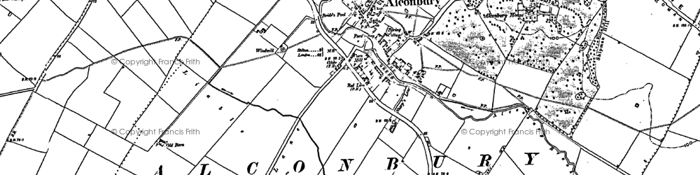 Old map of Alconbury in 1887